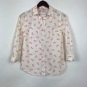 Anthropologie Size 00 Button Down Beige Blouse Top